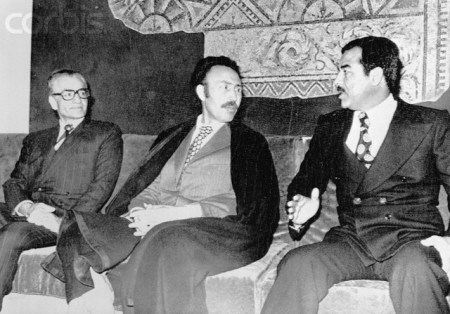 Algeria President Boumedienne with Saddam Hussein and Shah of Iran