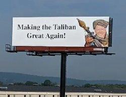 """بیلبورد """"بایدن طالبانی"""": طالبان را دوباره با عظمت کنیم!"""